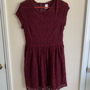 Maroon crochet dress
